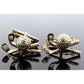 Golf Clubs & Balls Diamond Cufflinks 14k Yellow Gold 12.8g Vintage