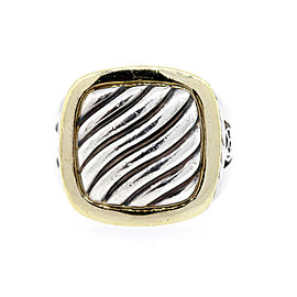 David Yurman Ring Signet Classic DY Albion Cable 18k gold Sterling Silver size 7