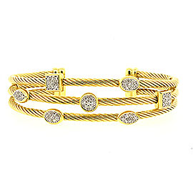 David Yurman Confetti Diamond Cuff Bracelet 18k Yellow Gold Narrow 3 Row