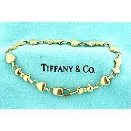 "Tiffany & Co. Bracelet Hearts Ribbons Bows 18k Yellow Gold 7.25"" Heavy 17g Charm"