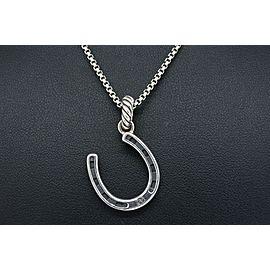 "David Yurman Horseshoe Necklace Pendant Enhancer Sterling Silver 18"" Box Chain"