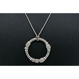 David Yurman Confetti Diamond Pendant Necklace Circle Rare Sterling Silver