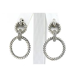 David Yurman Diamond Earrings Dangle 3 Circle Cable Graduated Sterling Silver