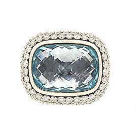 David Yurman Noblesse Topaz Ring 2ct Diamond Band Sterling Silver 3 Row Pave