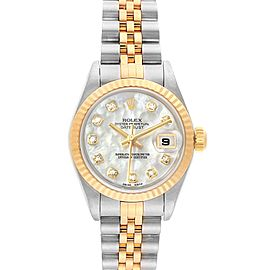 Rolex Datejust Steel Yellow Gold Diamond Ladies Watch 79173 Box Papers