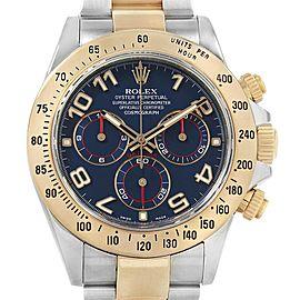 Rolex Daytona Steel 18K Yellow Gold Blue Dial Mens Watch 116523