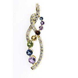 Levian Pendant Multi Color Gemstone Diamond Twist 14k Yellow Gold Journey