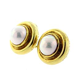Tiffany & Co. Pearl Earrings Mabe Paloma Picasso Clip On 18k Yellow Gold Vintage