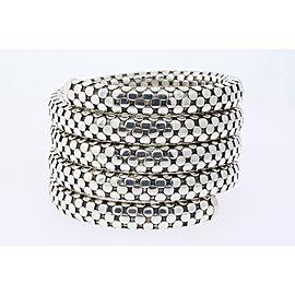 John Hardy 5 Coil Wrap Bracelet Dot Snake Stretch Flex Sterling Silver Medium