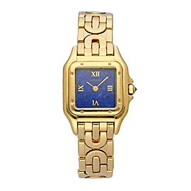 Cartier Panthere 1280/2 Blue Lapis Dial Art Deco Yellow Gold Ladies Watch