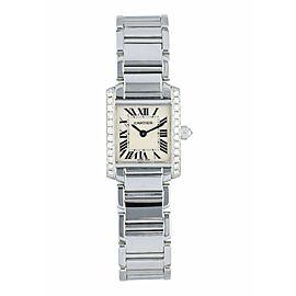 Cartier Tank Francaise 2403 White Gold Diamond Watch