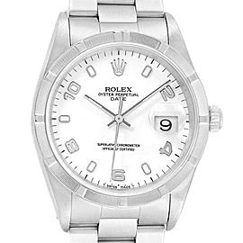 Rolex Date White Dial Engine Turned Bezel Steel Mens Watch 15210