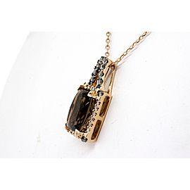 Levian Pendant Smoky Quartz Diamond Necklace 14k Rose Gold Necklace