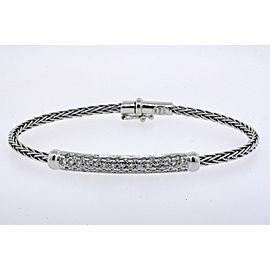Roberto Coin Diamond Station Bracelet Appasionata Wheat Chain 18k White Gold