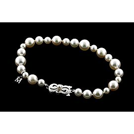 "Mikimoto Pearl Bracelet 5.5mm to 9.5mm Graduated 18k White Gold & Box 8"""