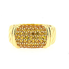 David Yurman Metro Pave Ring Yellow Sapphire 18k Gold Ring Wide 10mm Band sz 6