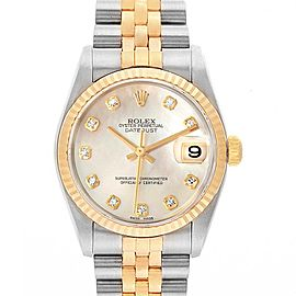 Rolex Datejust Midsize Steel Yellow Gold MOP Diamond Ladies Watch 78273