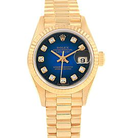 Rolex President Datejust Yellow Gold Vignette Diamond Ladies Watch 79178