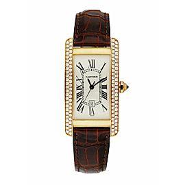 Cartier 2483 18K Yellow Gold & Diamond Bezel Ladies Watch Box & Papers