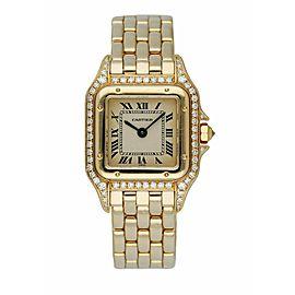 Cartier Panthere 128000M 18K Yellow Gold Ladies Diamonds Watch Box & Paper