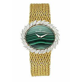 Universal Malachite Dial Diamond Bezel & 18K Yellow Gold Ladies Watch