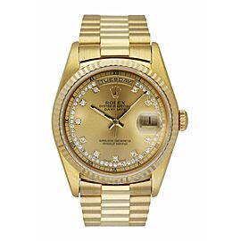 Rolex Day Date 18238 President String Diamond Dial Vintage Men's Watch Box & pap