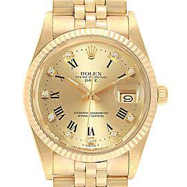 Rolex Date Mens 14k Yellow Gold Diamond Vintage Mens Watch 15037