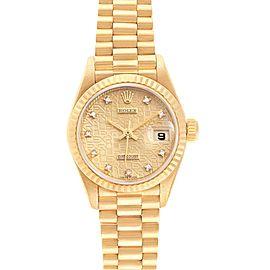 Rolex President 26 Yellow Gold Diamond Ladies Watch 69178 Box Papers