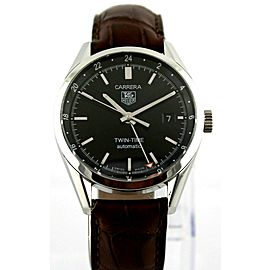TAG HEUER CARRERA WV2115.FC6181 BROWN LEATHER AUTO MENS LUXURY BLACK GMT WATCH
