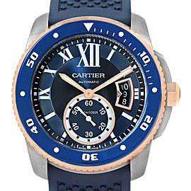 Cartier Calibre Diver Steel Rose Gold Blue Strap Watch W2CA0009 Box Card