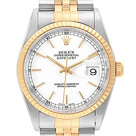 Rolex Datejust 36mm Steel Yellow Gold White Baton Dial Mens Watch 16233