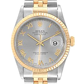Rolex Datejust Steel 18K Yellow Gold Slate Roman Dial Mens Watch 16233