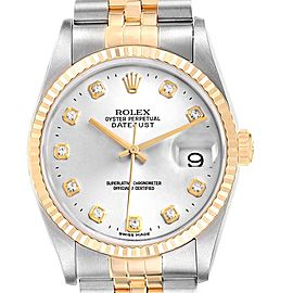 Rolex Datejust 36 Steel Yellow Gold Diamond Mens Watch 16233 Box Papers