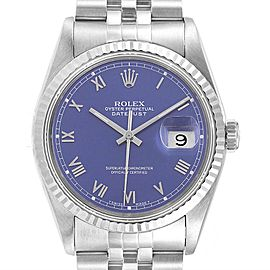 Rolex Datejust Steel White Gold Blue Dial Mens Watch 16234 Box Papers