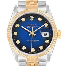 Rolex Datejust Steel Yellow Gold Diamond Vignette Dial Mens Watch 16233