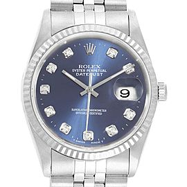 Rolex Datejust Steel White Gold Black Diamond Dial Mens Watch 16234