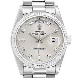 Rolex President Day-Date White Gold Diamond Mens Watch 18239 Box Papers