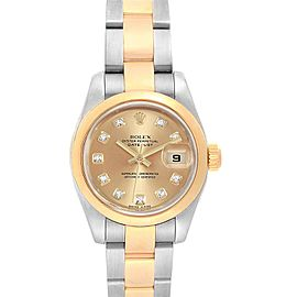 Rolex Datejust 26 Steel Yellow Gold Diamond Ladies Watch 179163
