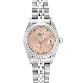 Rolex Datejust 26 Steel White Gold Salmon Roman Dial Ladies Watch 69174