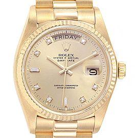 Rolex President Day Date 18k Yellow Gold Diamond Mens Watch 18038