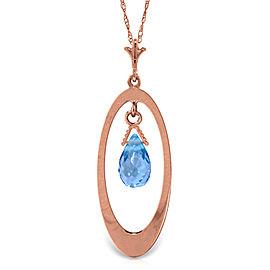 14K Solid Rose Gold Necklace with Briolette Blue Topaz