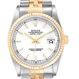 Rolex Datejust Steel Yellow Gold White Dial Fluted Bezel Mens Watch 16233