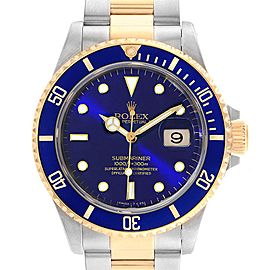 Rolex Submariner Purple Blue Dial Steel Yellow Gold Mens Watch 16613