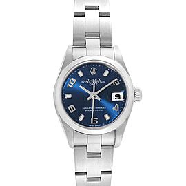 Rolex Date Blue Dial Domed Bezel Steel Ladies Watch 79160 Box Papers
