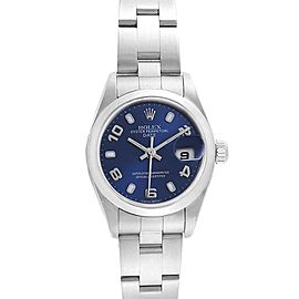 Rolex Date Blue Dial Domed Bezel Steel Ladies Watch 79160