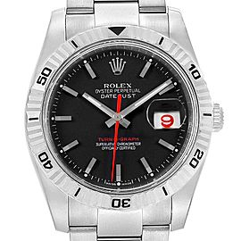 Rolex Datejust Turnograph Black Dial Red Hand Steel Mens Watch 116264