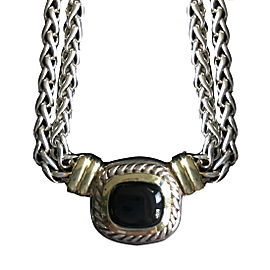 David Yurman Albion 925 Sterling Silver & 14K Yellow Gold Onyx Necklace