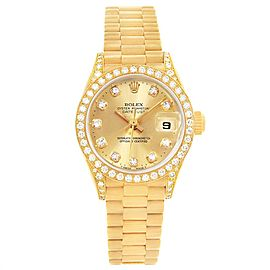 Rolex President 26mm Yellow Gold Diamond Ladies Watch 69158