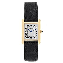 Cartier Tank Classic Paris 18k Yellow Gold Black Strap Ladies Watch