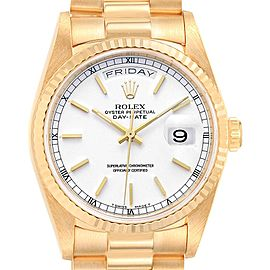 Rolex President Day-Date 36 Yellow Gold White Dial Mens Watch 18238